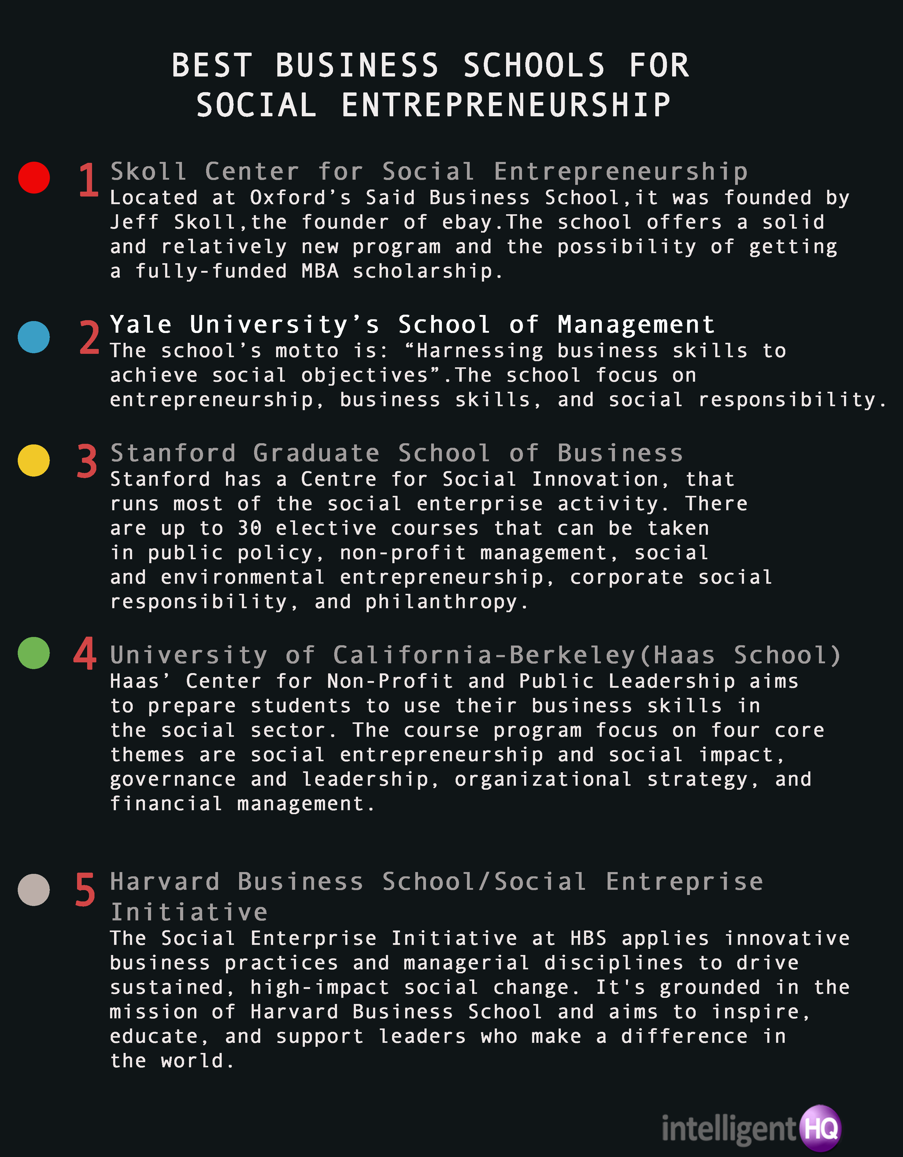 Best Business Schools For Social Entrepreneurship Infographic by Maria Fonseca for Intelligenthq