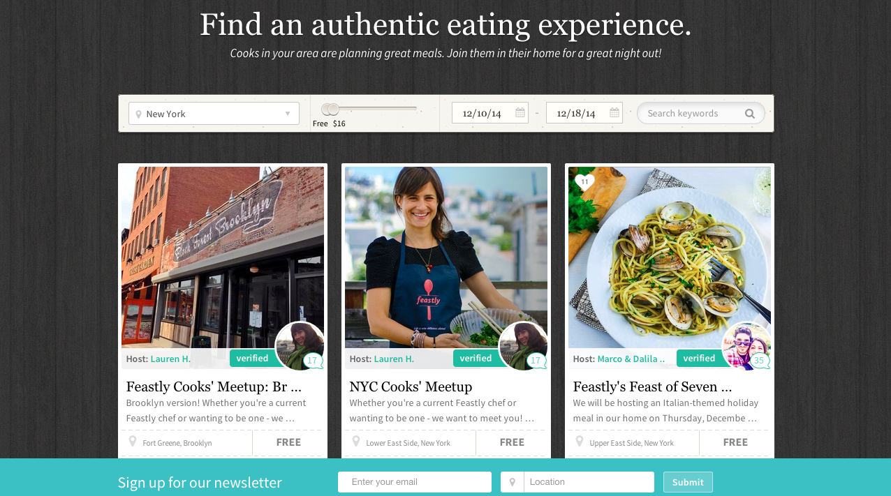 Screenshot of website Feastly Intelligenthq