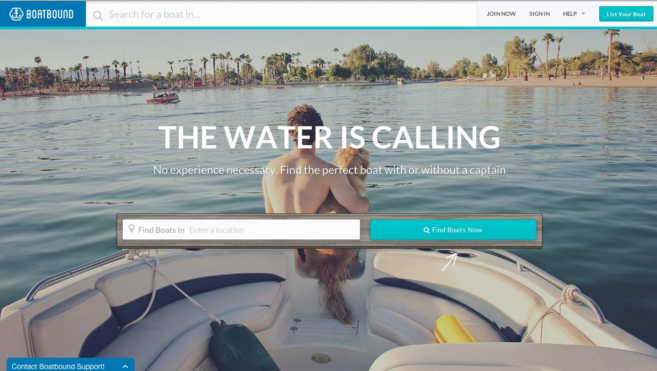 screenshot of website Boatbound