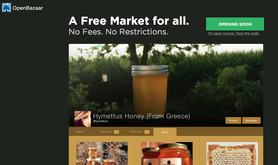 Screenshot of site OpenBazaar