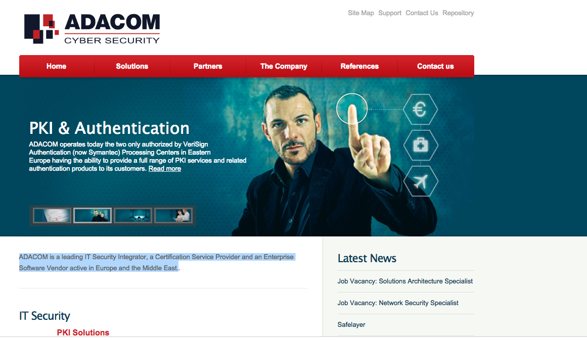 Adacom, cybersecurity, screenshot of website