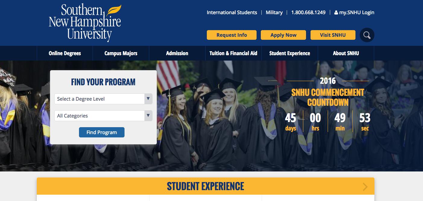SNHU website's screenshot