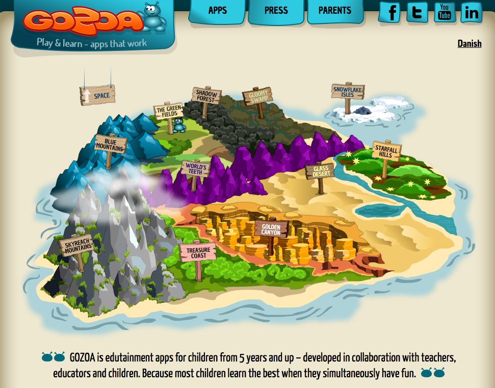 Gozoa: screenshot of website
