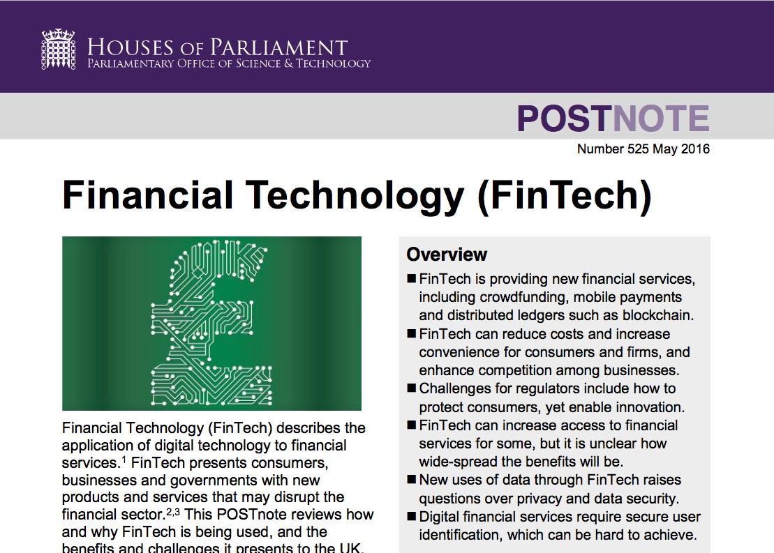 Financial Technology (FinTech) Houses of Parliament