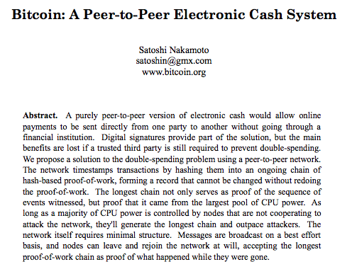 Bitcoin: A Peer-to-Peer Electronic Cash System, initial paper