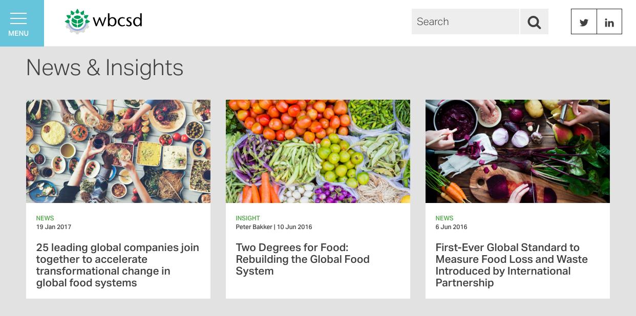 Screenshot of website of WBCSD