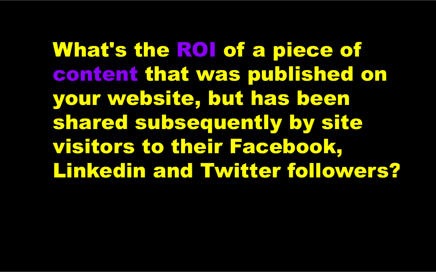 what is the ROI of content in Social Media IntelligentHQ