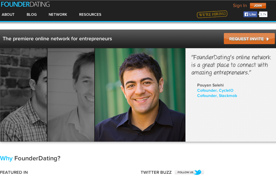 Screenshot of website founderdating