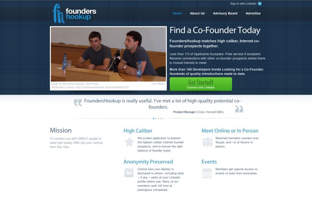Screenshot of website Foundershookup. Intelligenthq