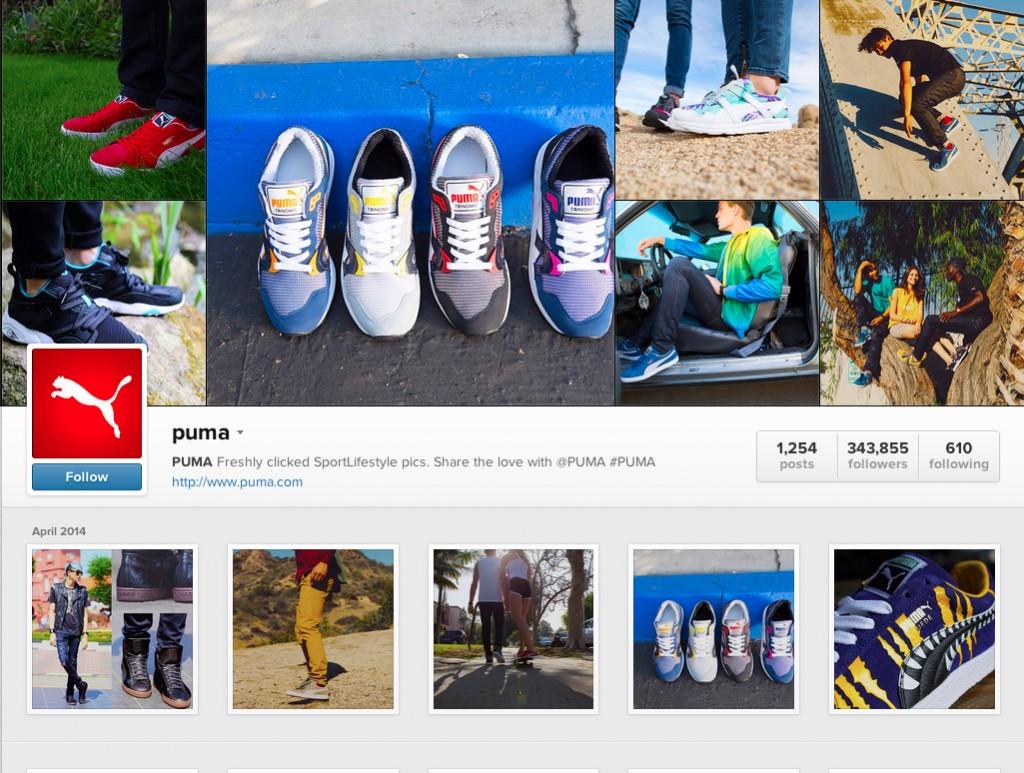 Instagram page of brand Puma