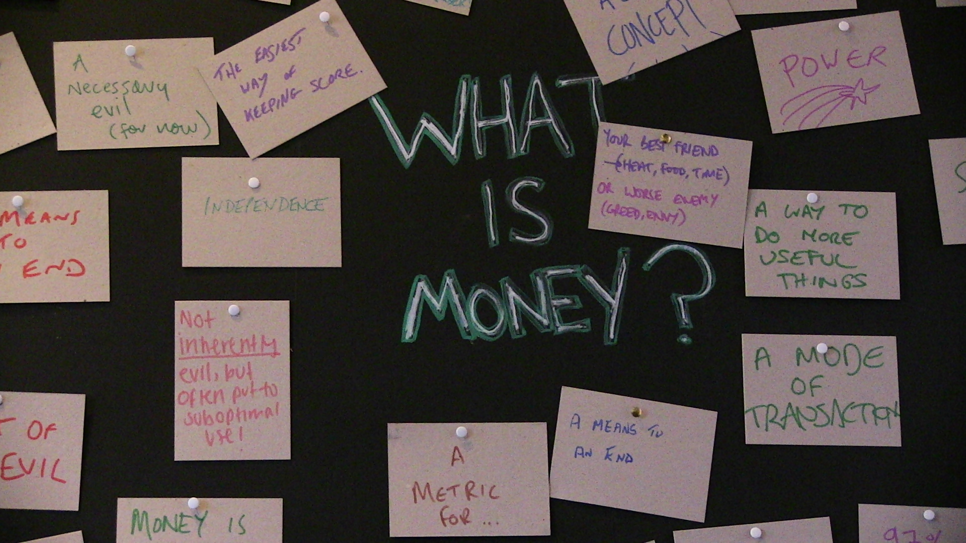 What is Money? Workshop led by Charles Davies
