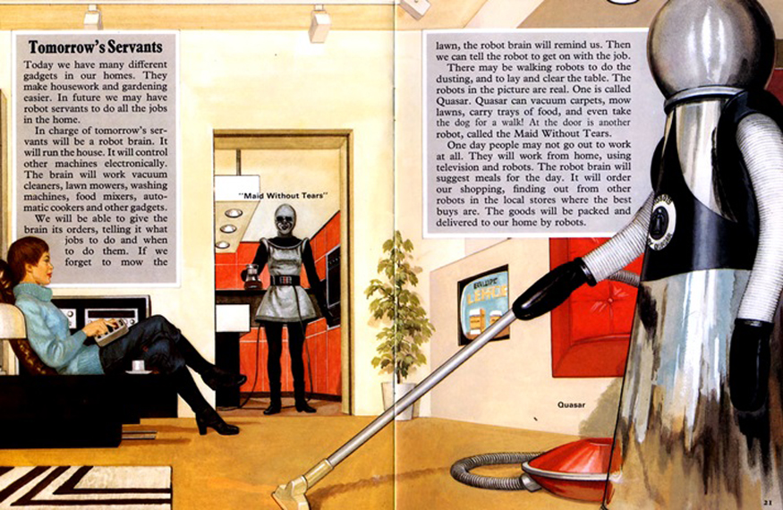Illustration of article about Robot Maids in a magazine from the sixties