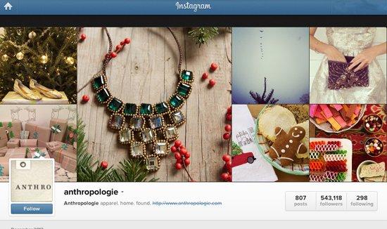 anthropologie Instagram account