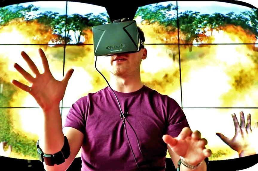 A young man experiments with the AR technology Oculus Rift