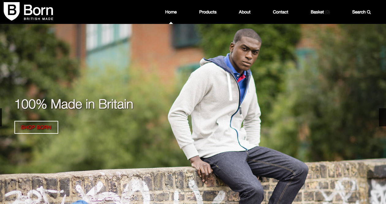 "Screenshot of website ""Born, British made"""