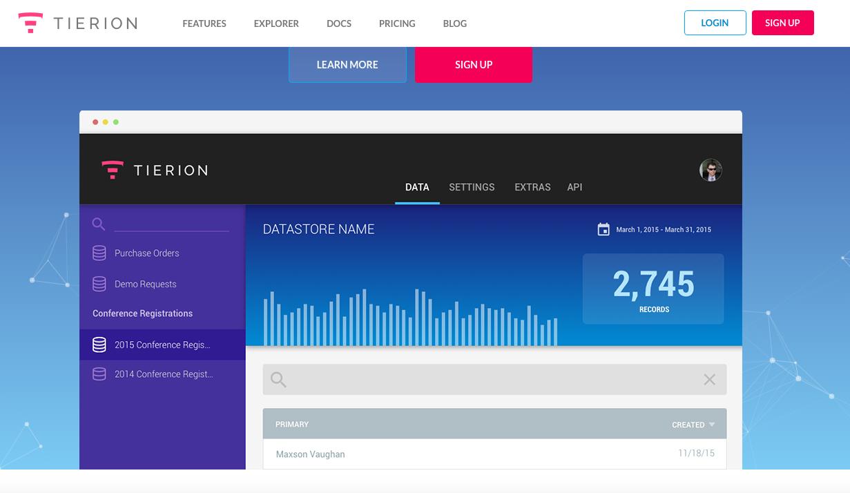 Tierion : screenshot of website