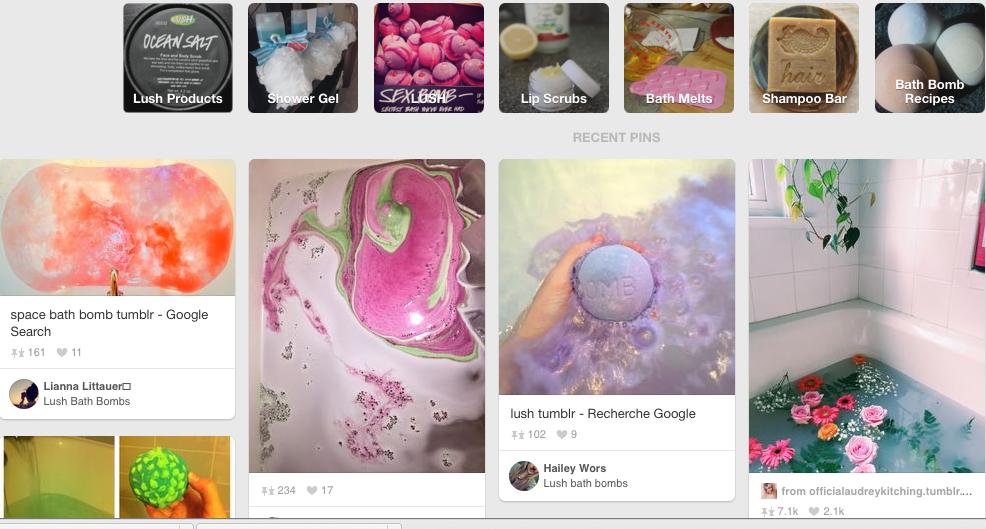 Lush's Pinterest Page