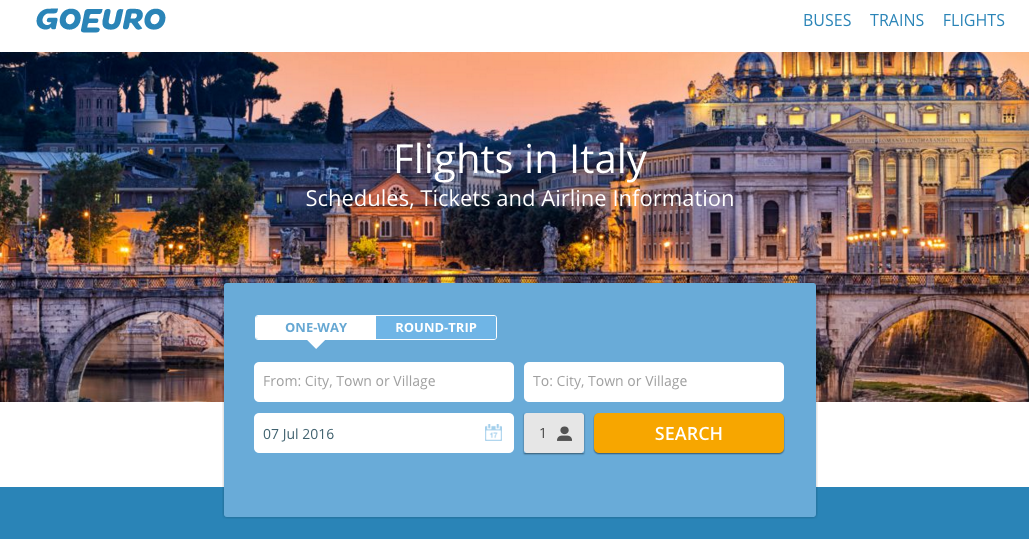 Screenshot of website goeuro.com