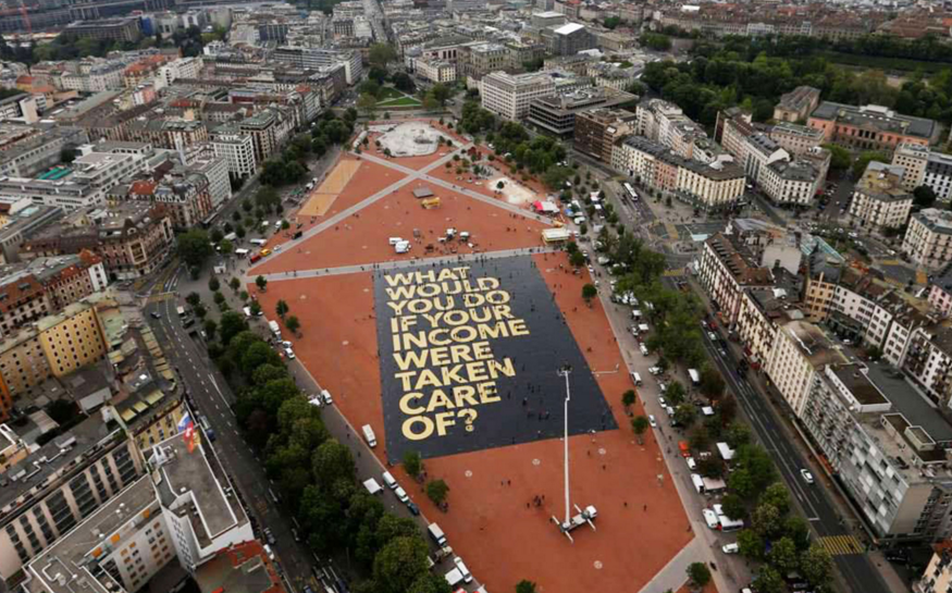 Switzerland rejected in 2016 a universal basic income referendum. Image of the campaign, pro UBI
