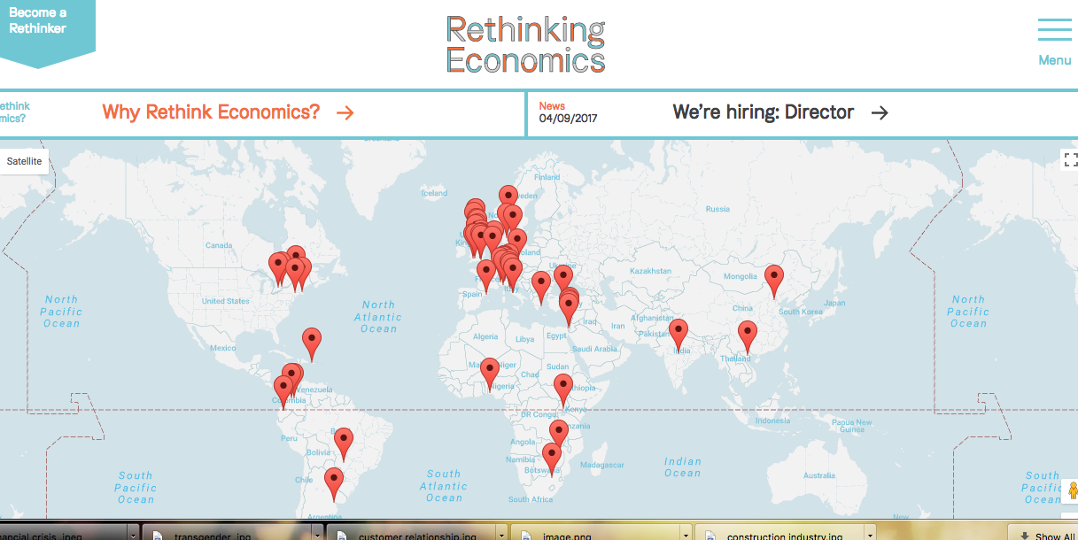 Screenshot of website rethinking economics