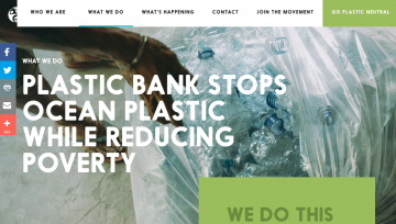 Screenshot of Website of Company Plastic Bank