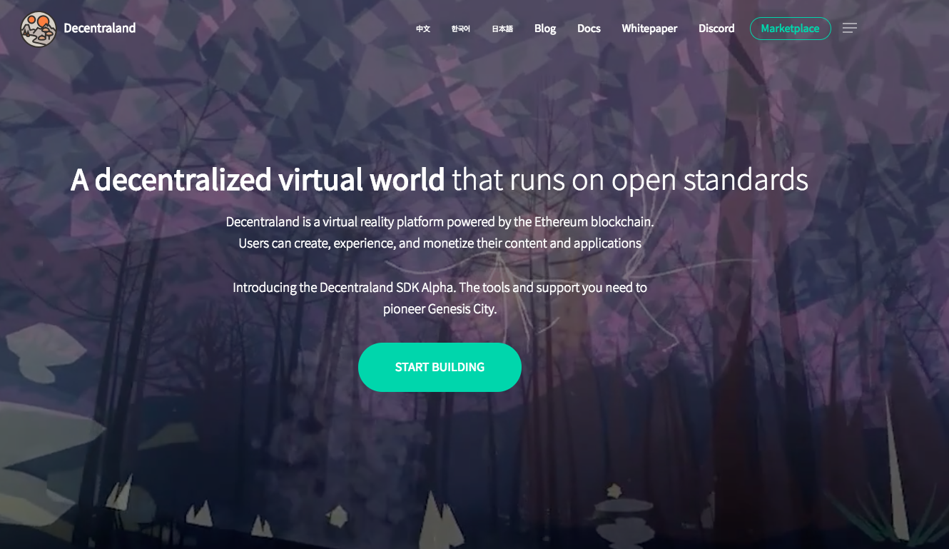 Decentraland, a virtual reality platform powered by the Ethereum blockchain, to build games