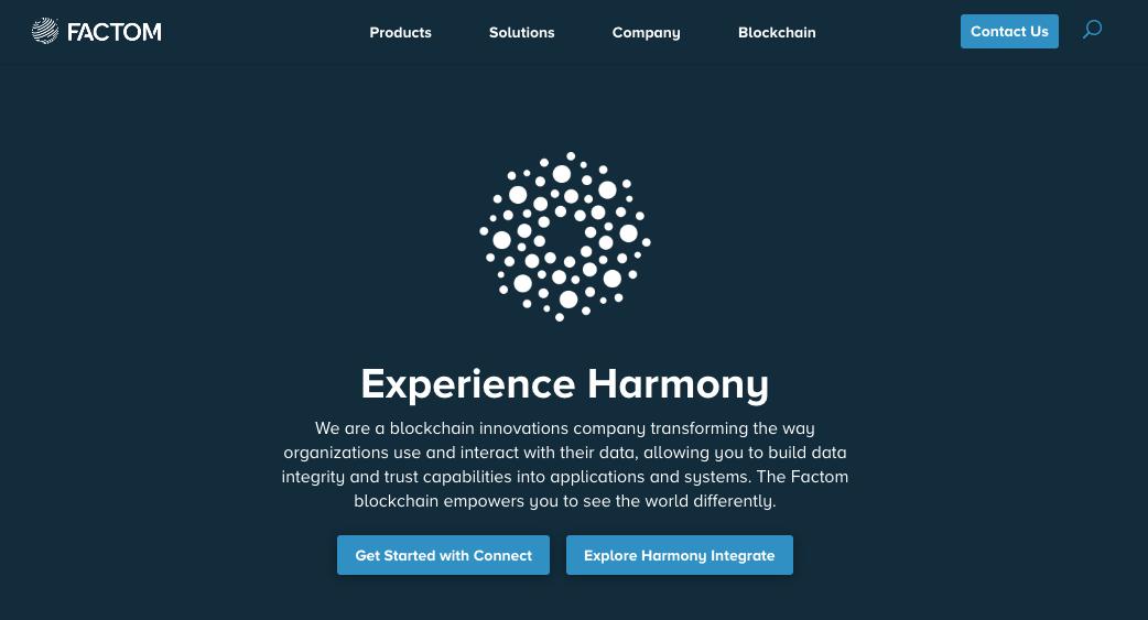 Screenshot of website of Startup Factom