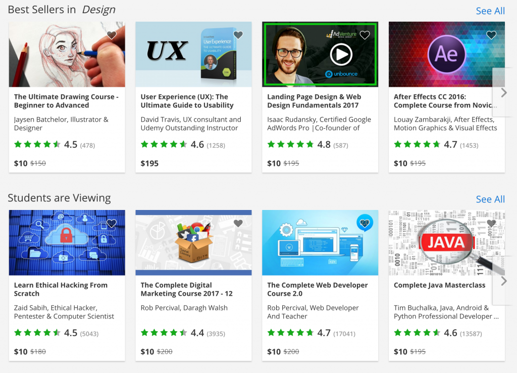 Udemy's best seller courses in Design