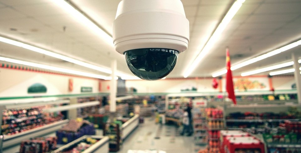 security camera in Grocery Shop, close up