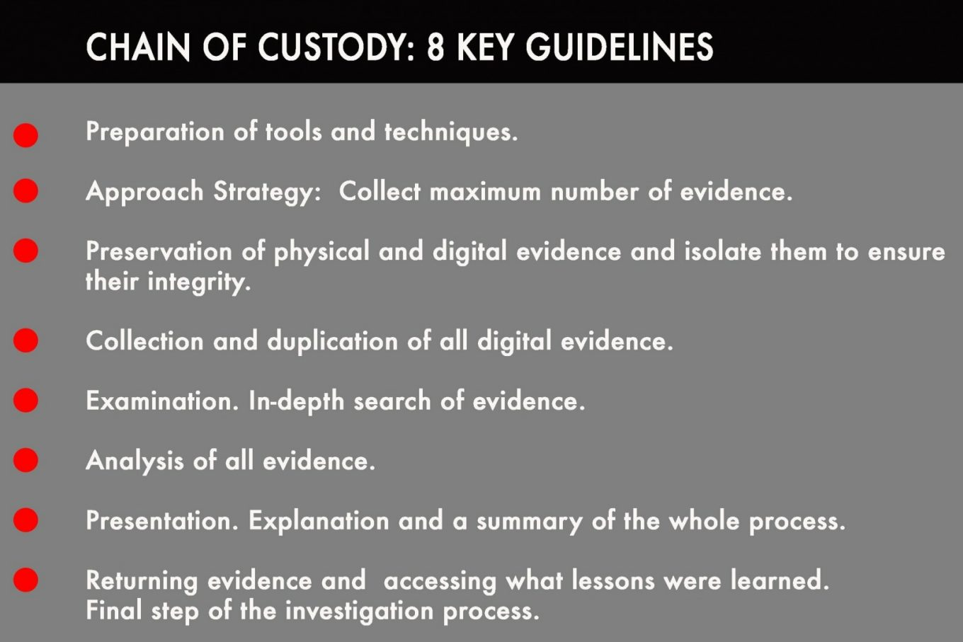 Chain of custody. Its 8 key guidelines Intelligenthq