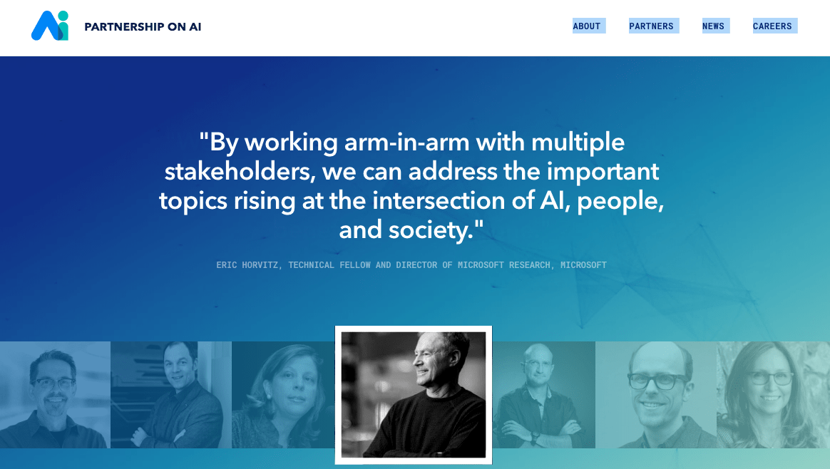 Partnership on AI. Screenshot of website.