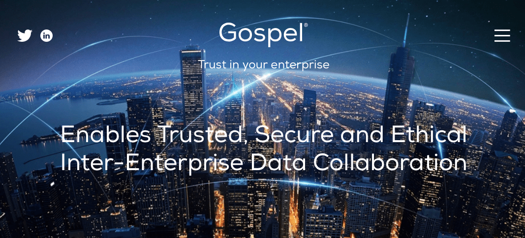 Gospel Technology. Screenshot of the company's website