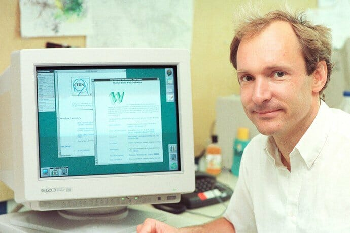 Tim Berners Lee at CERN in the 80s