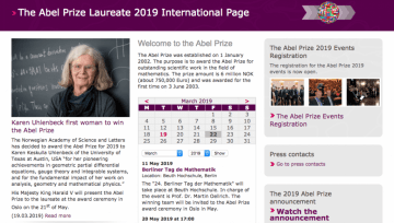 Screenshot of website of Abel Prize, a prestigious award to Mathematicians.