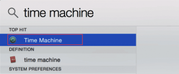 "Search ""Time Machine"" in search results"